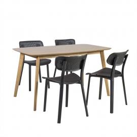 Söögilauakomplekt ENRICH 4-tooliga, tamm