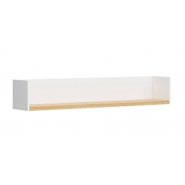 Seinariiul HAGA valge / tamm, 150x27xH25 cm