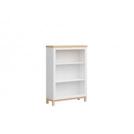 Raamaturiiul HAGA valge / tamm, 91x34xH130 cm