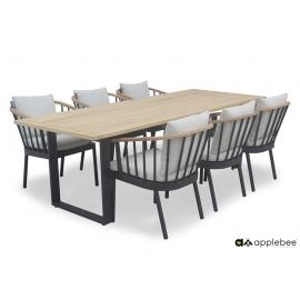 Aiamööbli komplekt Apple Bee CONDOR must / helebeež, 6 tooli + laud