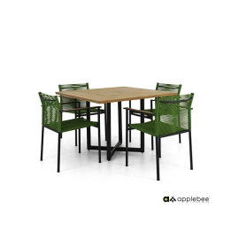 Aiamööbli komplekt Apple Bee JAKARTA mattmust / roheline, 4 tooli + laud