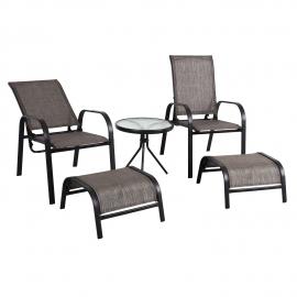 Aiamööblikomplekt DAKOTA laud, 2 tooli ja 2 jalapinki