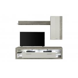 Elutoamööbli komplekt ROCK valge läige / hall, LED