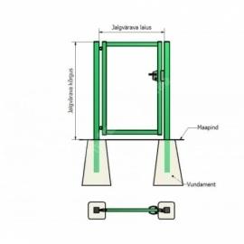 Jalgvärava raam 1x2,0 m zn+RAL6005