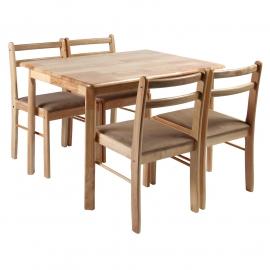 Söögilauakomplekt LOTUS 4-tooliga, hele puit
