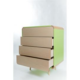 Kummut FUN 4-laekaga roheline, 75x45,5xH90,5 cm