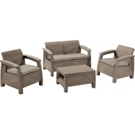 Aiamööbli komplekt Corfu laud, diivan ja 2 tooli patjadega, cappuccino