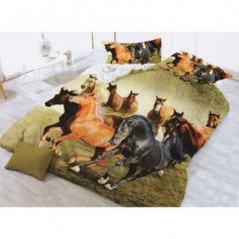 3D 4 osaline voodipesukomplekt Hobused, 160x200 cm
