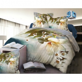 3D 4 osaline voodipesukomplekt Valge lill, 160x200 cm