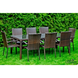 Aiamööbli komplekt Bello Giardino SOTTILE tumepruun, 8 tooli + laud