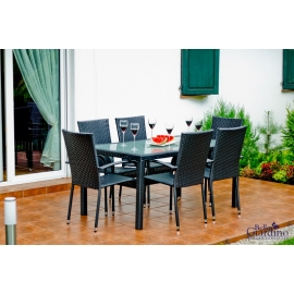 Aiamööbli komplekt Bello Giardino AVVICENTE must, 6 tooli + laud