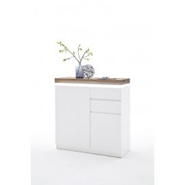 Kummut ROMINA valge / tamm, 91x38xH97 cm, LED