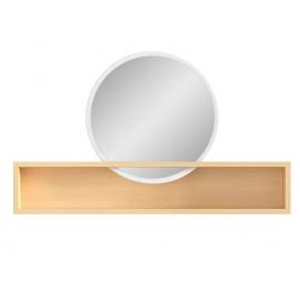 Peegel riiuliga PORI valge / tamm, 85x12,5xH16/50 cm