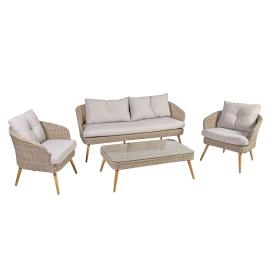 Aiamööbli komplekt NORWAY laud, diivan ja 2 tooli