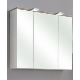 Peegelkapp BURGAS valge läikega, 80x20xH70 cm LED