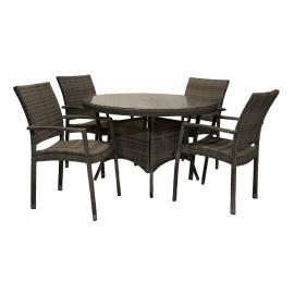 Aiamööbli komplekt WICKER laud ja 4 tooli, tumepruun